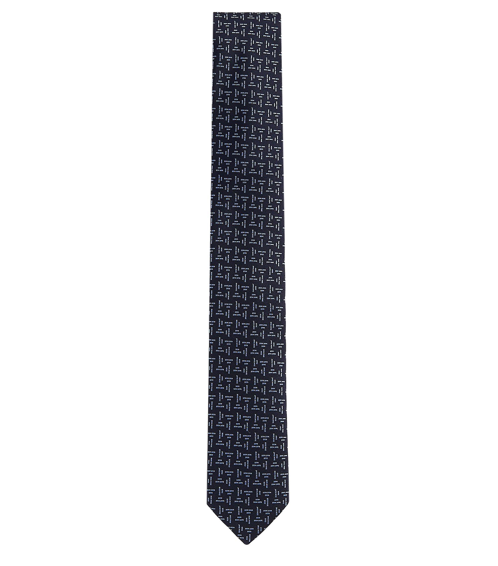 Embroidered Italian Silk Slim Tie, Open Grey
