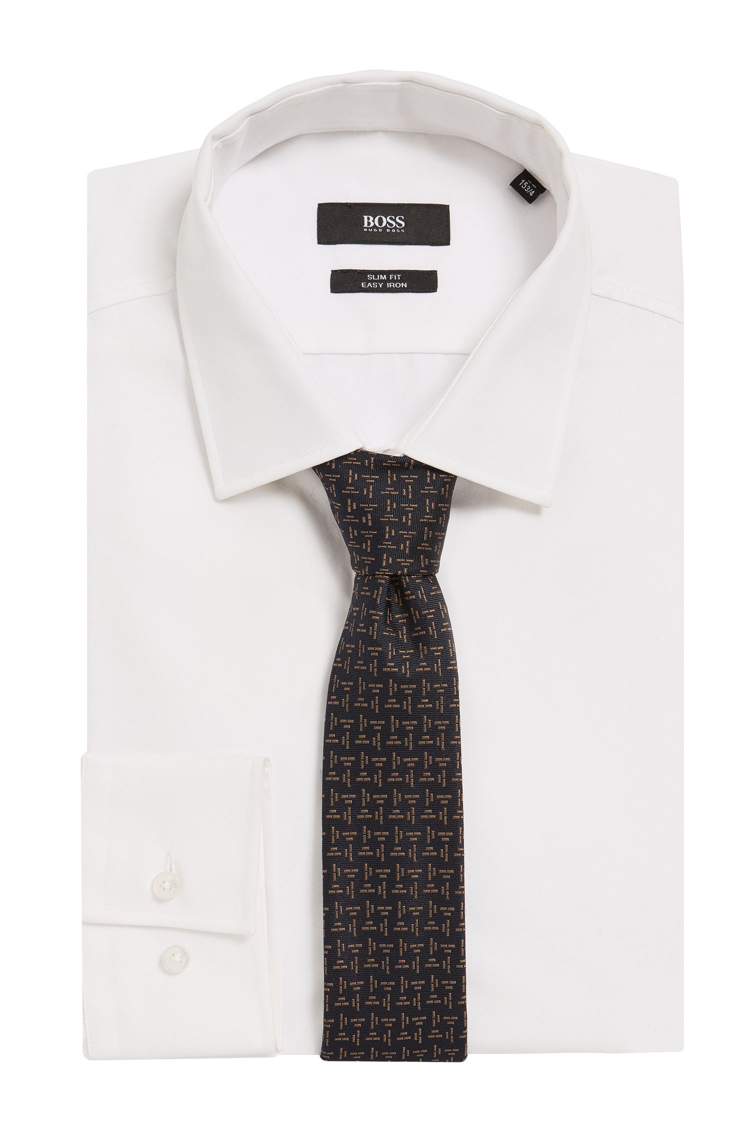 Embroidered Italian Silk Slim Tie, Dark Blue