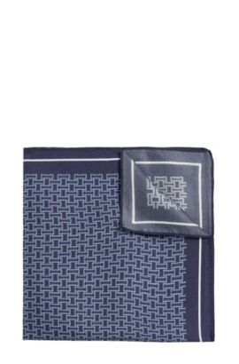 Patterned Italian Silk Pocket Square | Pocket Sq. cm 33x33, Dark Blue