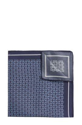 Patterned Italian Silk Pocket Square, Dark Blue