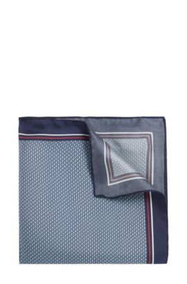'Pocket sq. cm 33x33' | Italian Silk Patterned Pocket Square, Turquoise