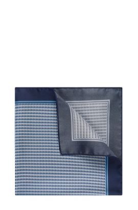 Patterned Italian Silk Pocket Square | Pocket Sq. cm 33x33, Open Blue