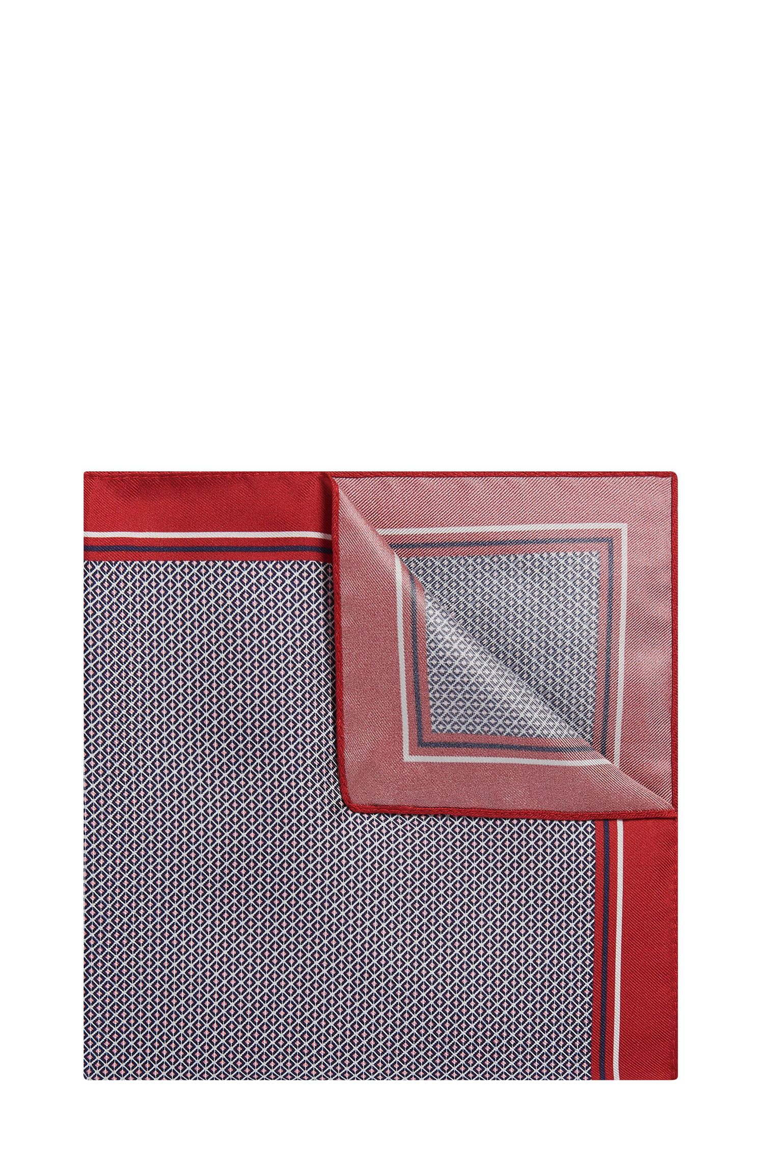 Patterned Italian Silk Pocket Square, Red