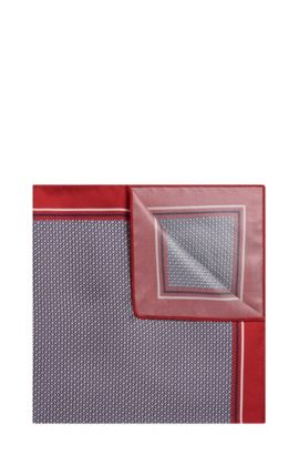 Patterned Italian Silk Pocket Square | Pocket Sq. cm 33x33, Red