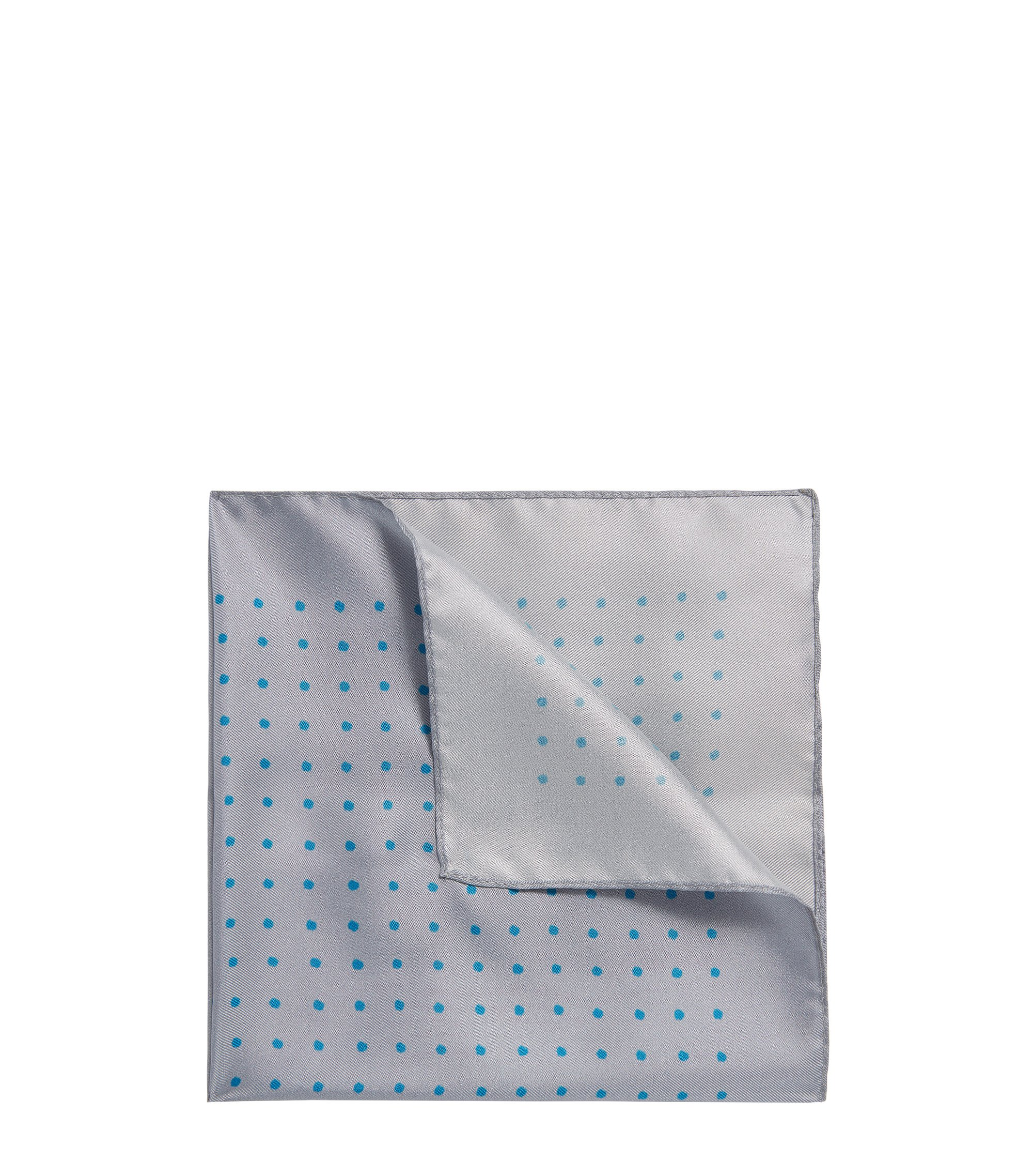 Dotted Italian Silk Pocket Square, Light Grey