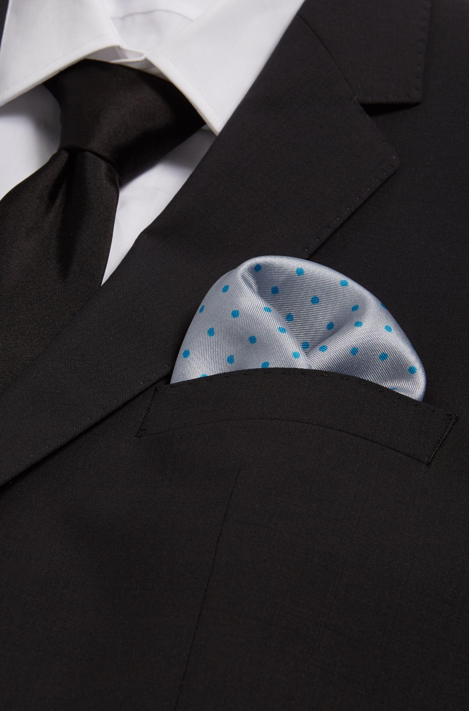 Dotted Italian Silk Pocket Square, Light Grey