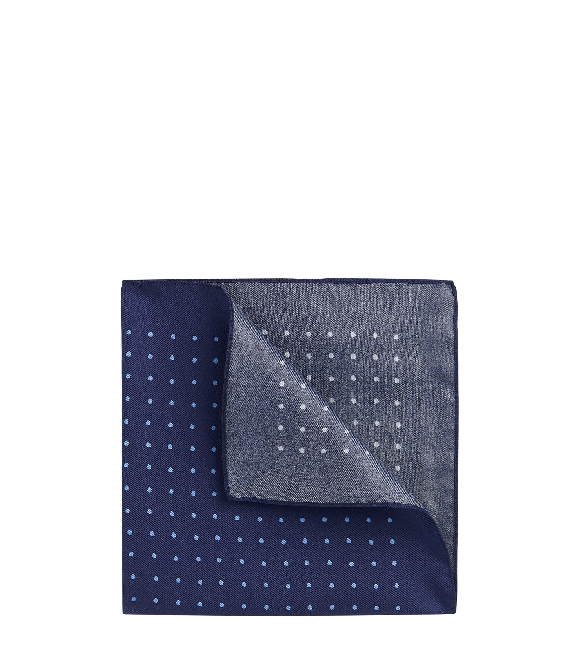 Dotted Italian Silk Pocket Square, Dark Blue