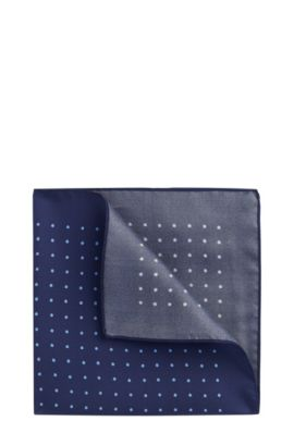 'Pocket sq. cm 33x33' | Polka Dot Italian Silk Pocket Square, Dark Blue