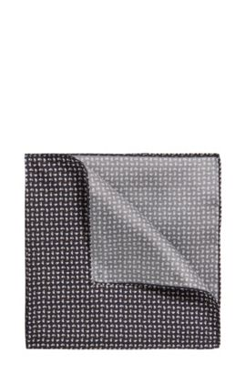 Patterened Italian Silk Pocket Square, Dark Blue