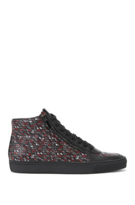 'Futurism Hito Pr' | Printed Leather High-Top Sneakers, Black