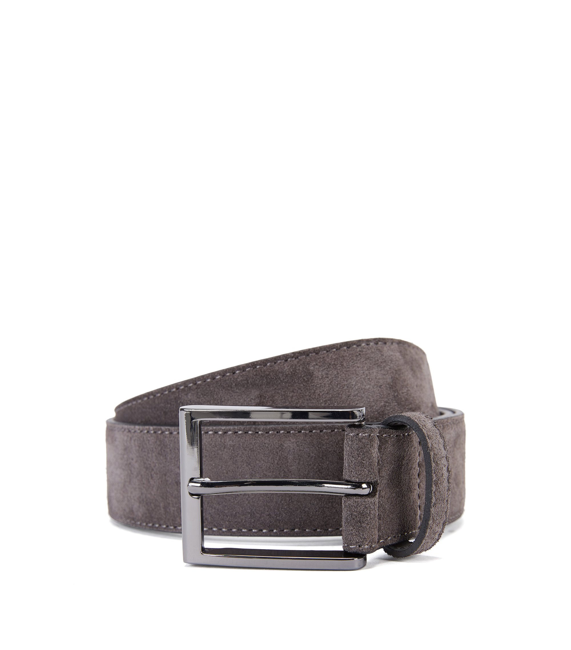 Suede Belt | Stefonio, Dark Grey