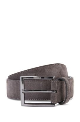 'Stefonio' | Suede Belt, Dark Grey
