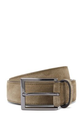 'Stefonio' | Suede Belt, Dark Green