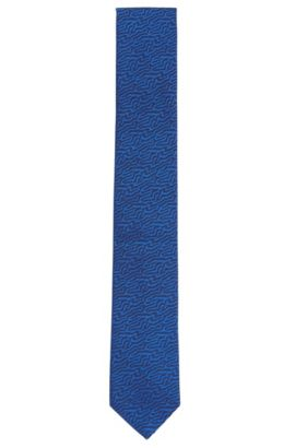 Embroidered Silk Tie, Slim | Tie cm 6, Open Blue