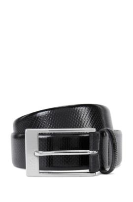 'C-Grasony' | Embossed Leather Belt, Black