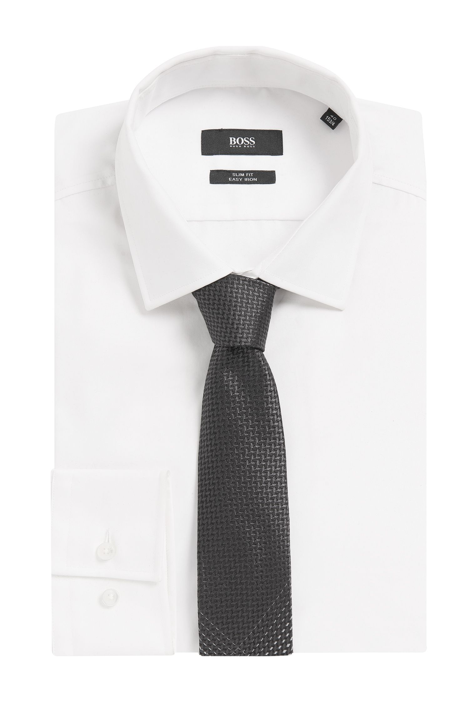 Gradient Italian Silk Slim Tie, Black