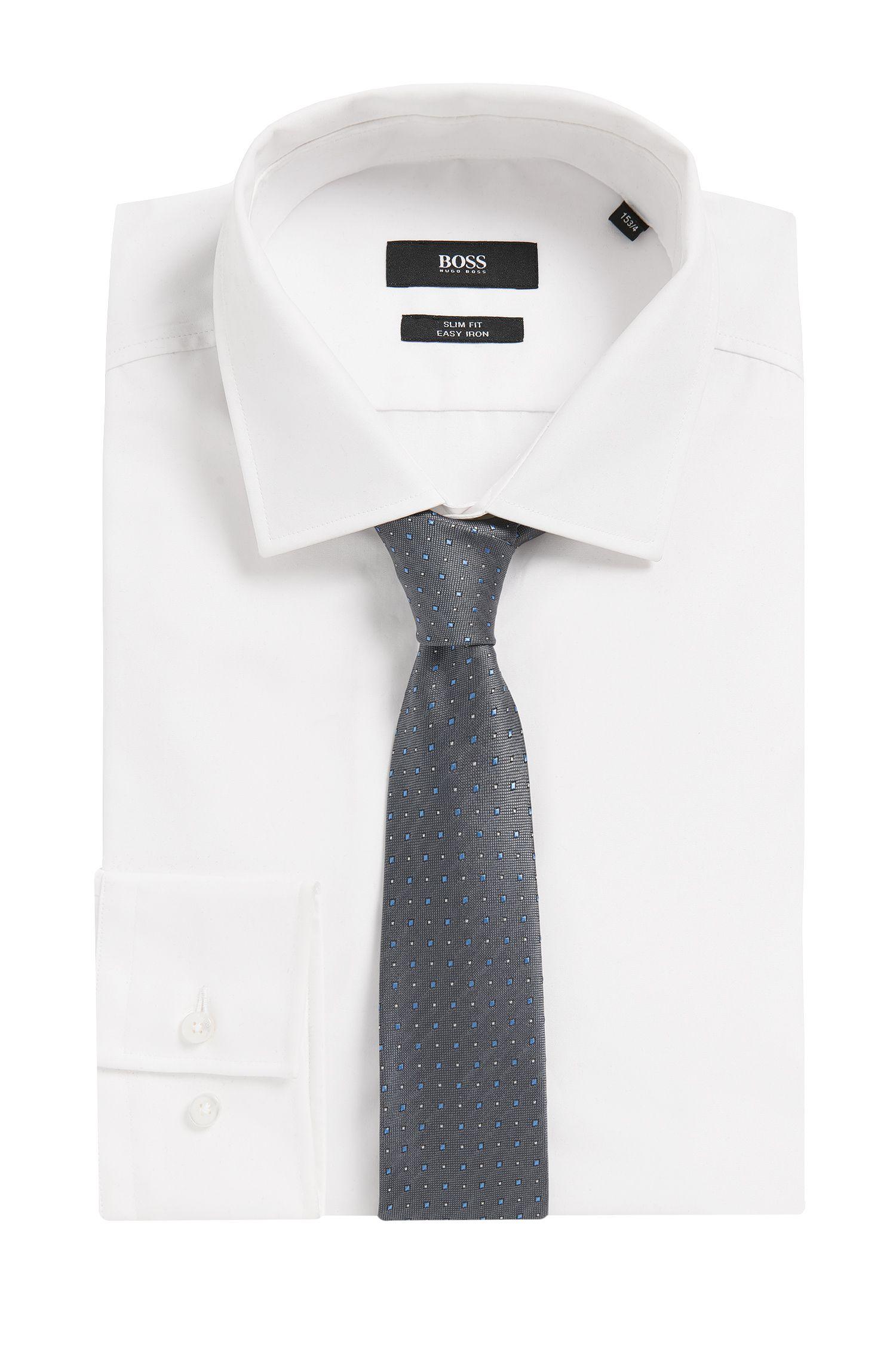 Traveller Polka Dot Italian Silk Slim Tie , Light Grey