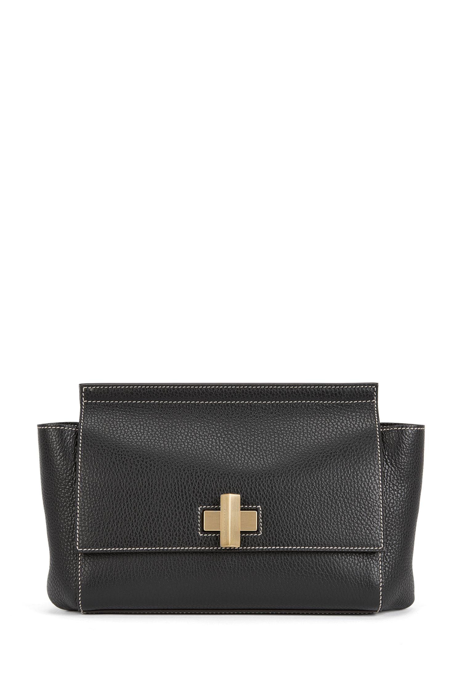 'BOSS Bespoke Soft C' | Leather Grained Satchel Handbag, Detachable Shoulder Strap
