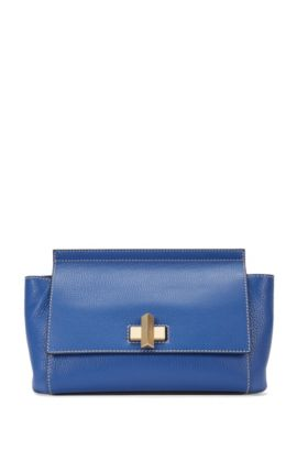'BOSS Bespoke Soft C' | Leather Grained Satchel Handbag, Detachable Shoulder Strap, Light Blue