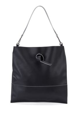 'Modern Day Tote' | Italian Leather Handbag, Detachable Strap, Black