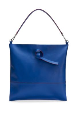 'Modern Day Tote' | Italian Leather Handbag, Detachable Strap, Blue