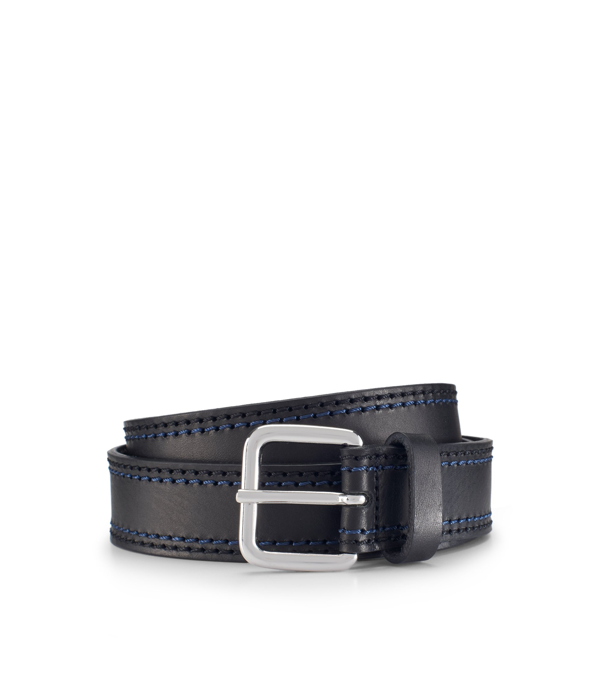 Stitched Leather Belt | Giolle, Black