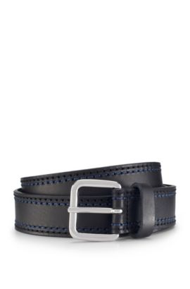 'Giolle' | Stitched Leather Belt, Black