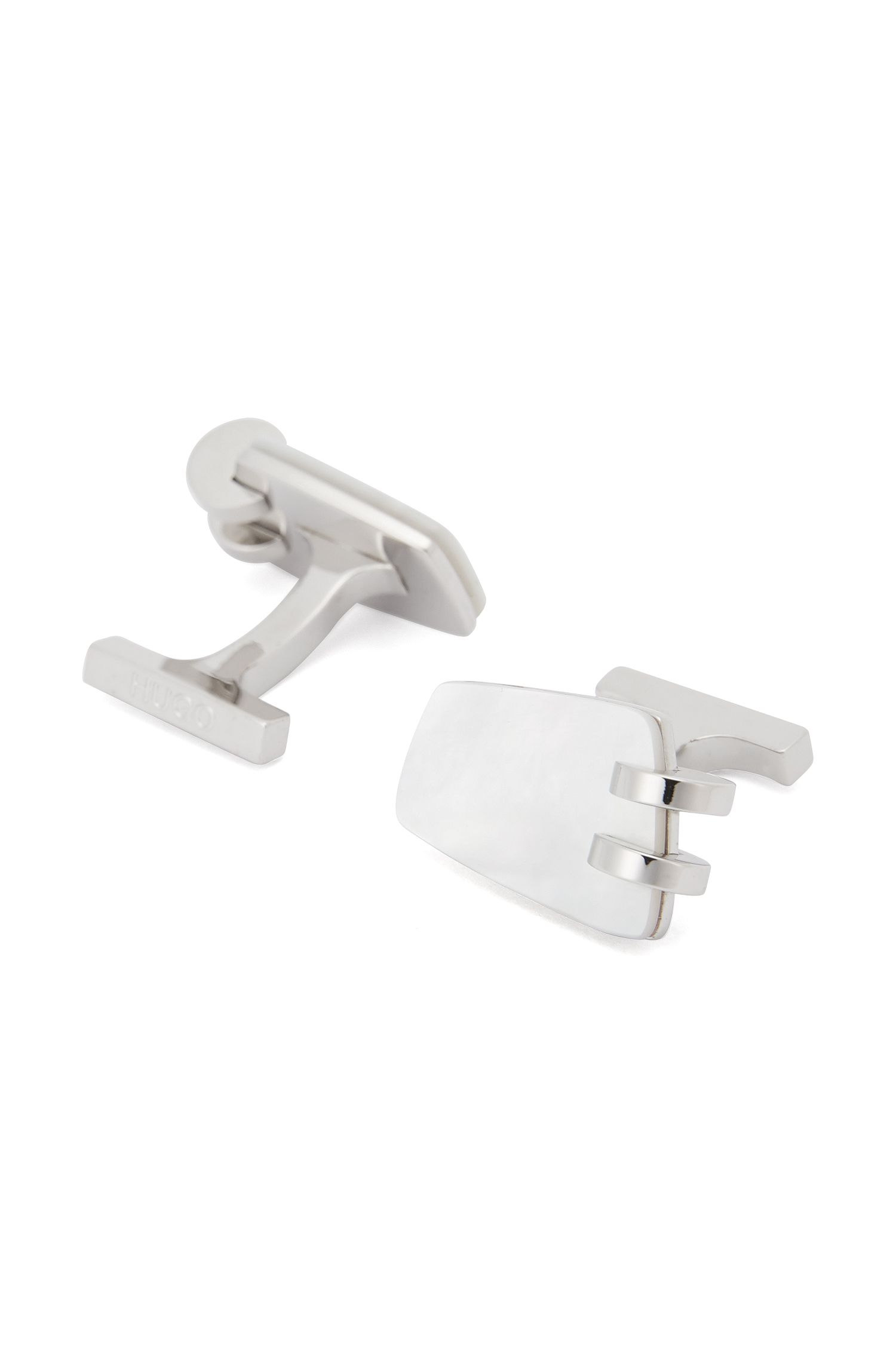 Brass Cufflinks | E-Motel, White