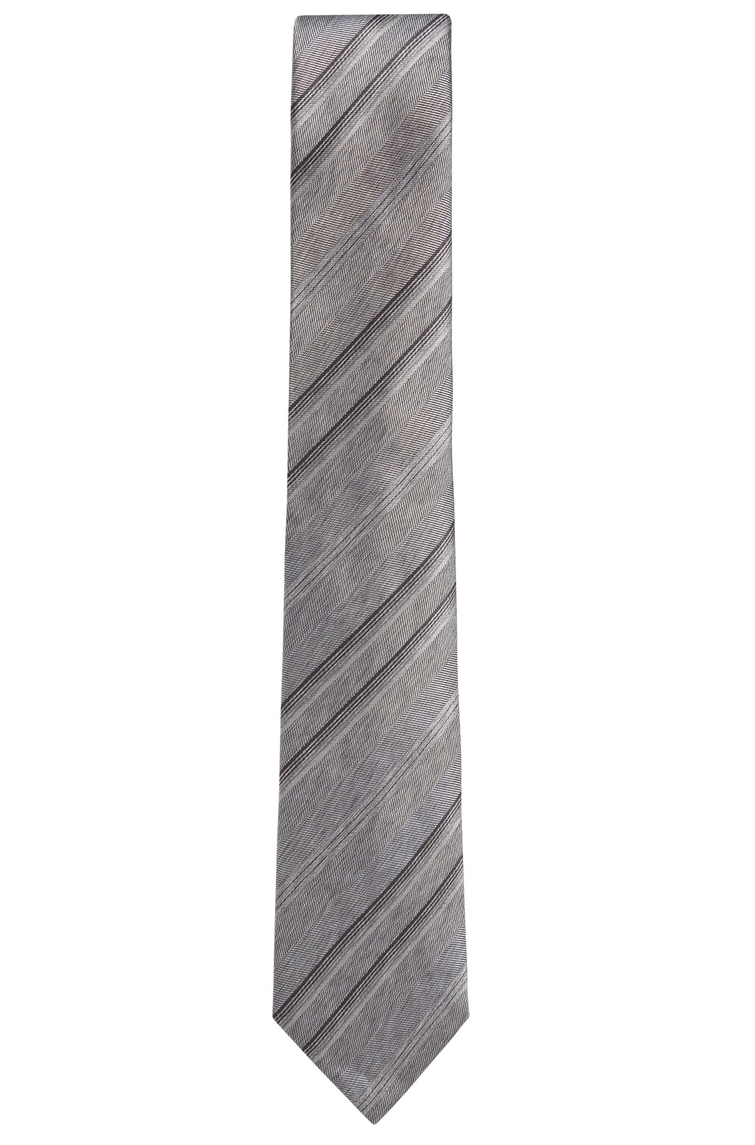 BOSS Tailored Striped Italian Silk Tie, Light Grey