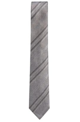'T-Tie 7.5 cm' | Regular, Striped Herringbone Italian Silk Tie, Light Grey