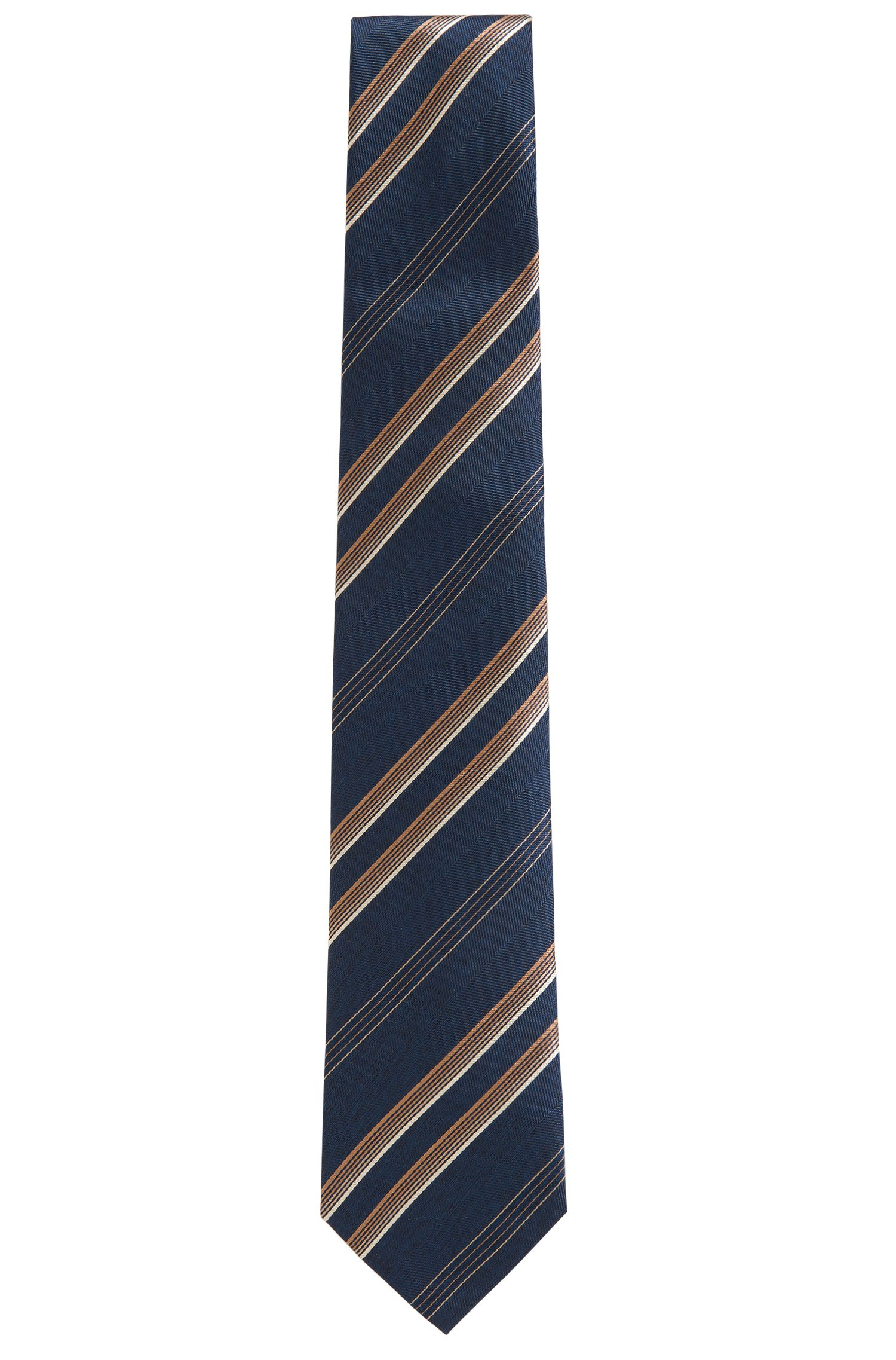 'T-Tie 7.5 cm' | Regular, Striped Herringbone Italian Silk Tie