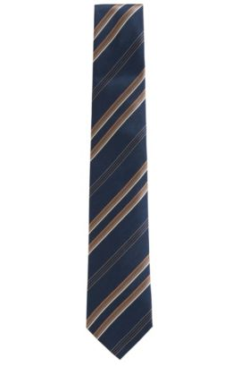 'T-Tie 7.5 cm' | Regular, Striped Herringbone Italian Silk Tie, Dark Blue
