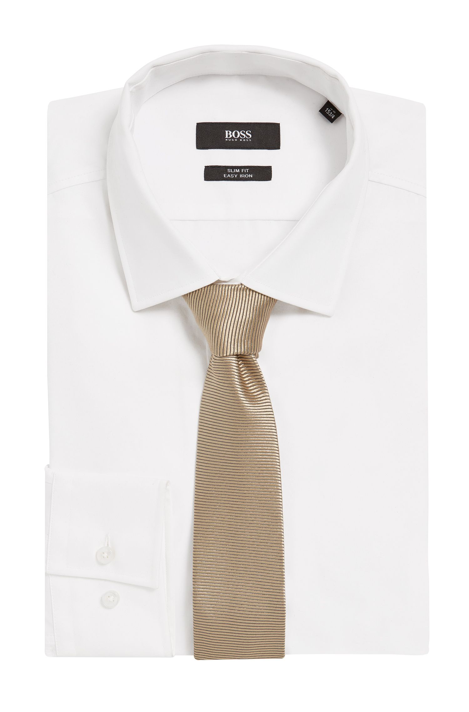 BOSS Tailored Italian Silk Slim Tie, Beige