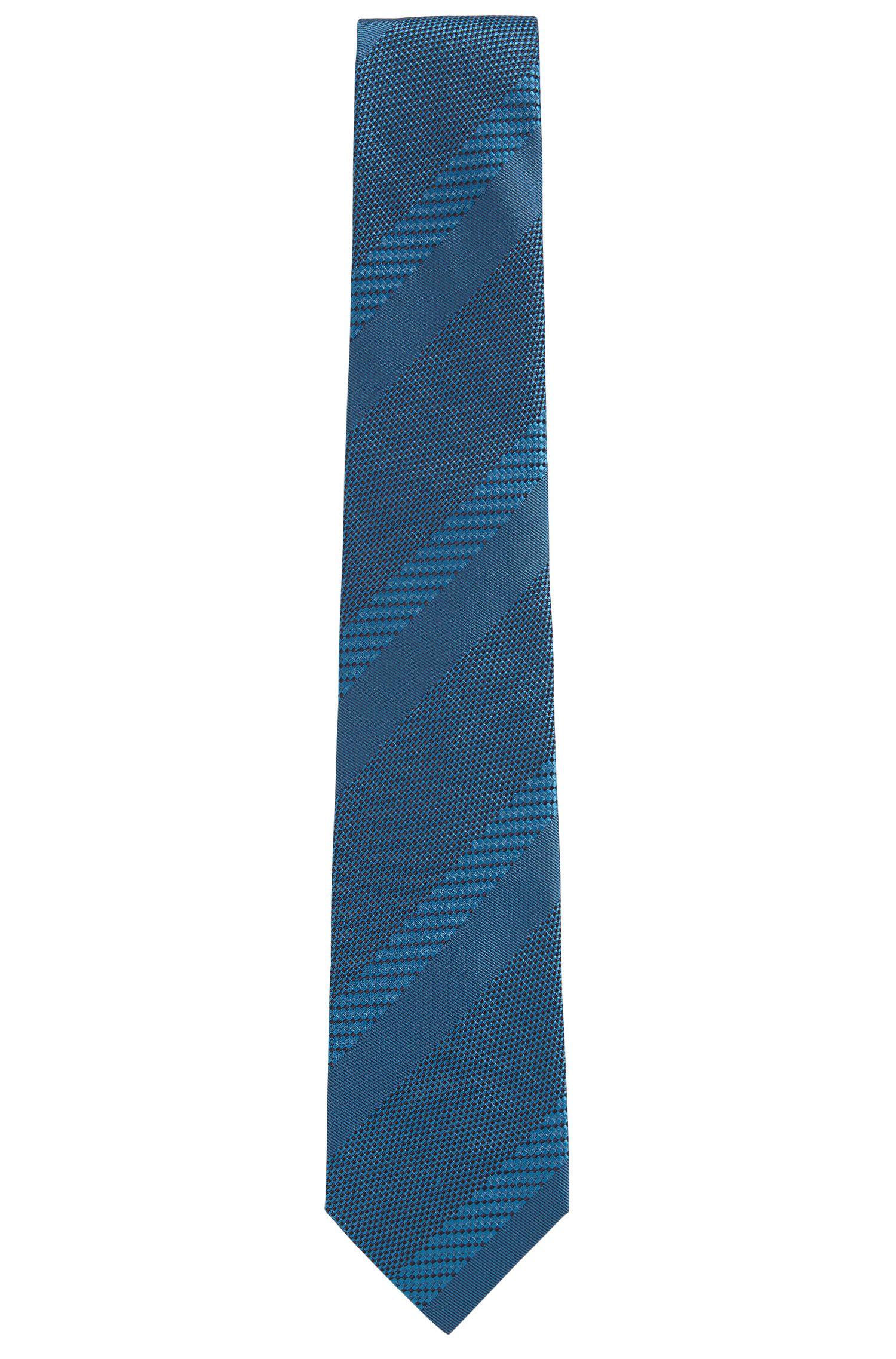 'T-Tie 7.5 cm' | Regular, Basketweave Stripe Italian Silk Tie