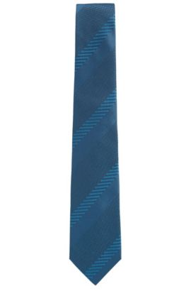 'T-Tie 7.5 cm' | Regular, Basketweave Stripe Italian Silk Tie, Turquoise