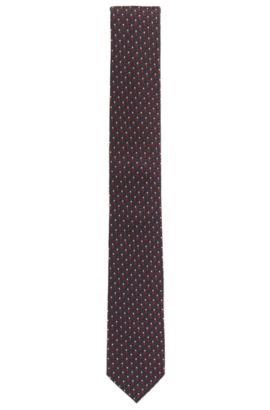 BOSS Tailored Embroidered Silk Slim Tie, Red