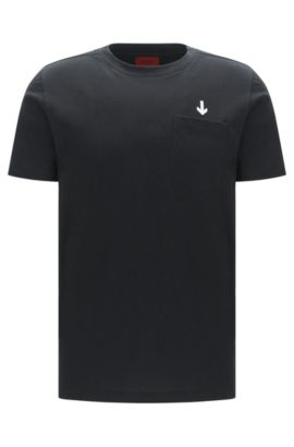 'Darwood' | Cotton Embroidered T-Shirt, Black