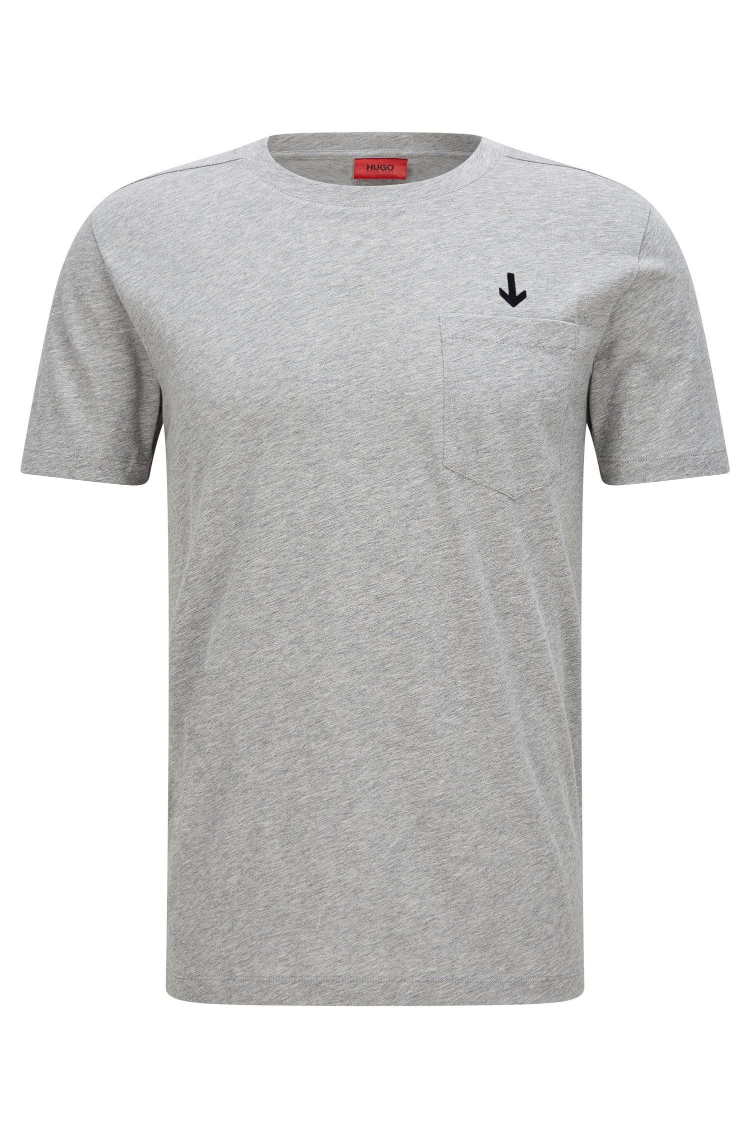 Cotton Embroidered T-Shirt | Darwood, Open Grey