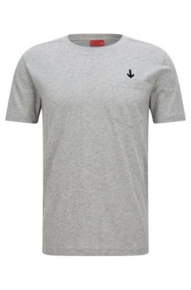 'Darwood' | Cotton Embroidered T-Shirt, Open Grey
