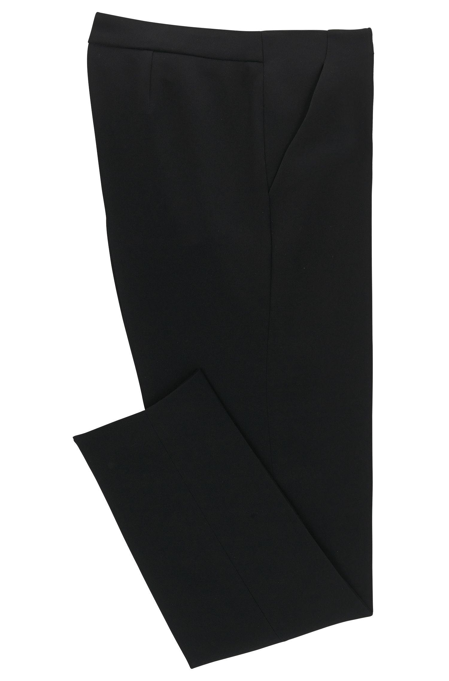 Crepe Crop Pant | Tilunisa Sidezip, Black