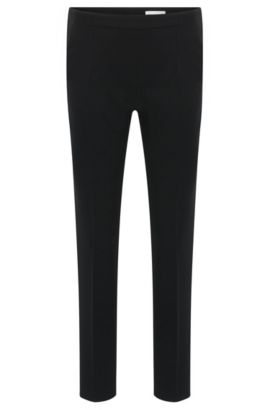 'Tilunisa Sidezip' | Crepe Crop Pants, Black