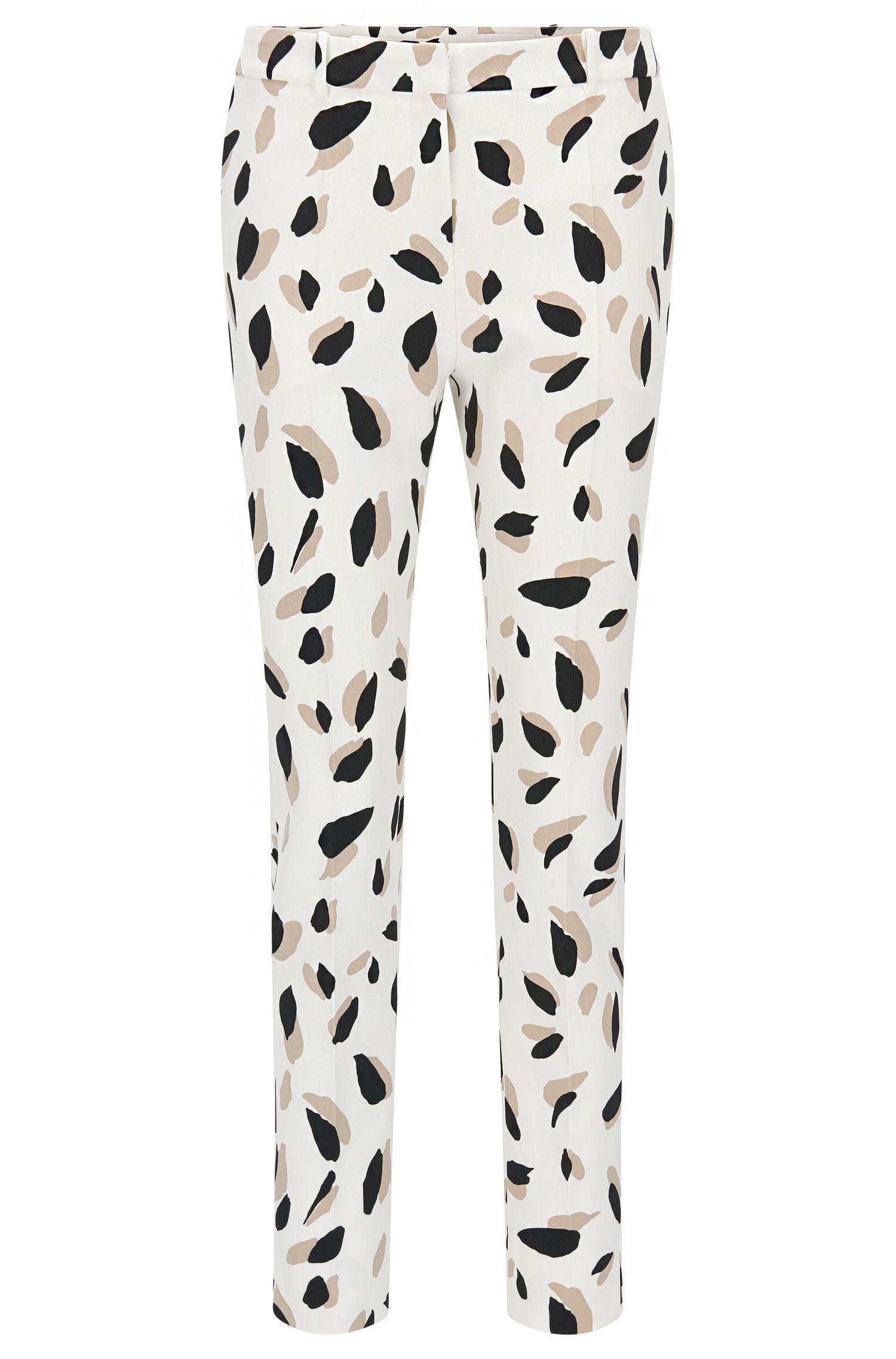 'Timera' | Slim Fit, Printed Stretch Trousers