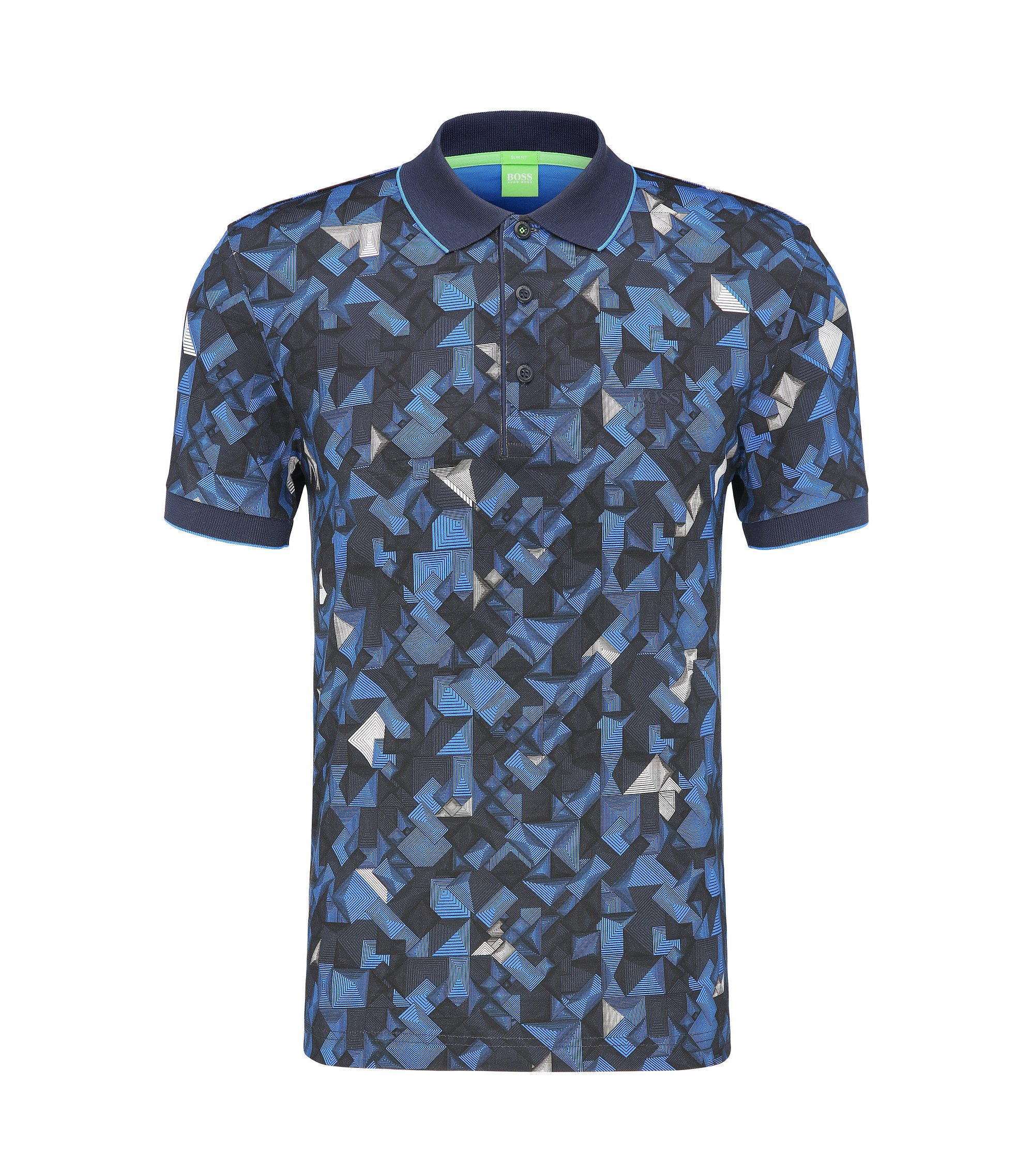 Patterned Cotton Polo, Slim Fit | Paule , Dark Blue