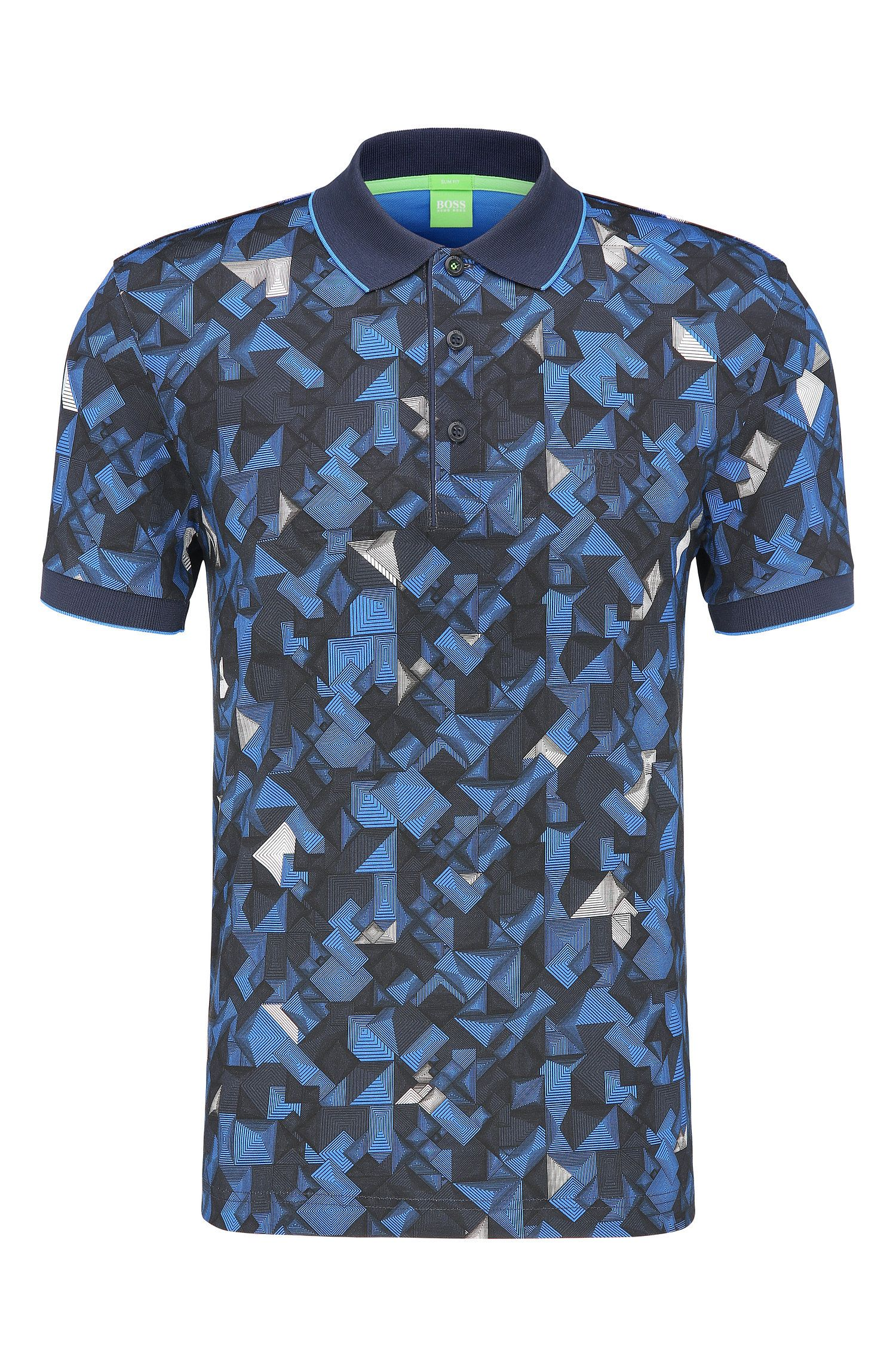 Patterned Cotton Polo, Slim Fit | Paule