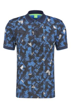 'Paule' | Slim Fit, Patterned Cotton Polo , Dark Blue