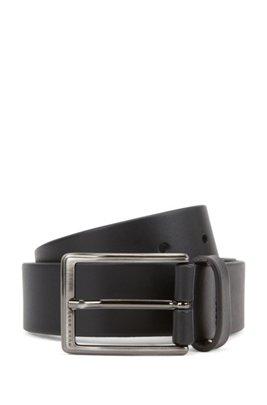 Leather belt with brushed-gunmetal buckle, Black
