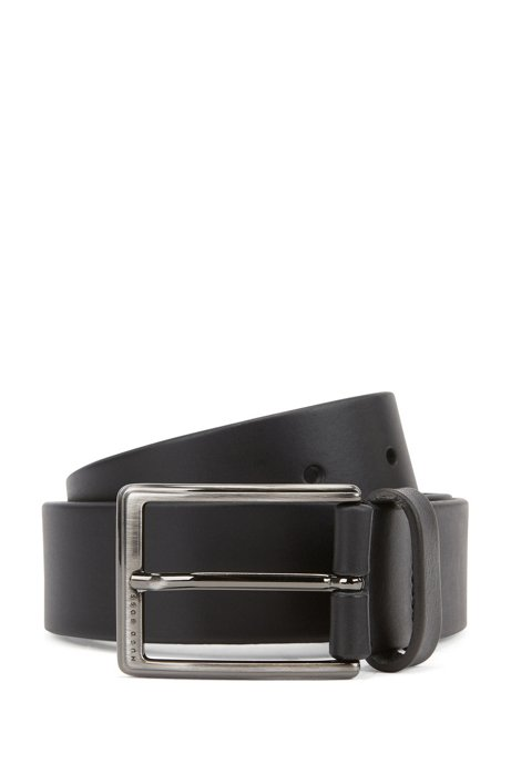 Leather belt with brushed-gunmetal buckle, Black