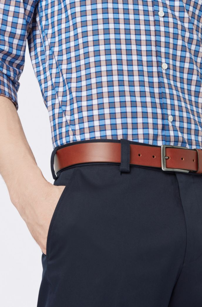 Leather belt with brushed-gunmetal buckle