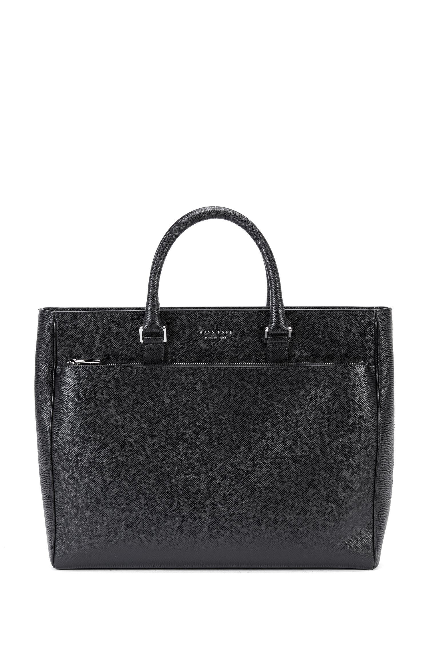 Italian Palmellato Leather Tote | Signature Tote, Black