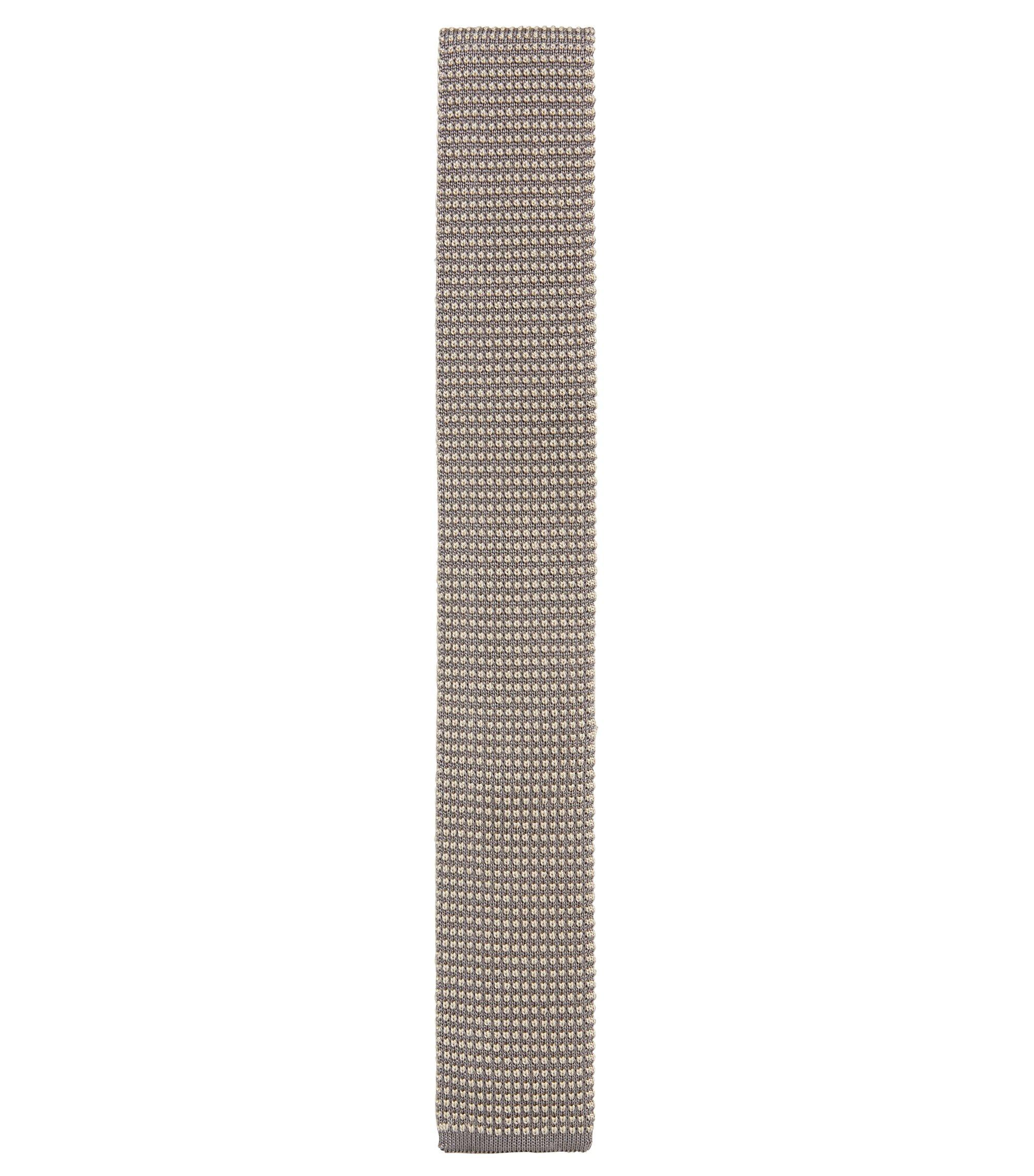 BOSS Tailored Knitted Italian Silk Slim Tie, Light Grey